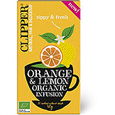 Clipper Orange og citron organisk fusion 20 poser 35g
