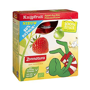 Zonnatura Squeeze fruit apple-strawberry 340g