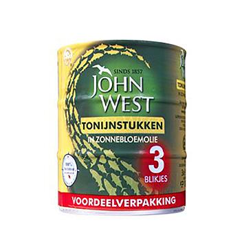 John West Tonijnstukken in zonnebloemolie 3x145g
