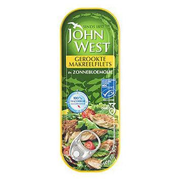 John West Gerookte makreelfilets in zonnebloemolie 145g