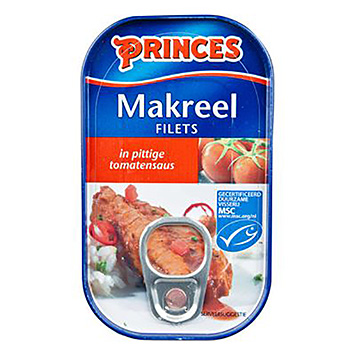 Princes Makreelfilets in pittige tomatensaus 125g