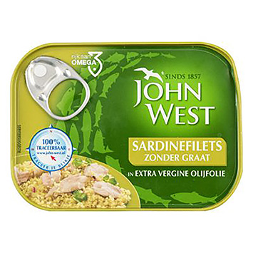 John West Sardin fillets without bone in extra virgin olive oil 95g