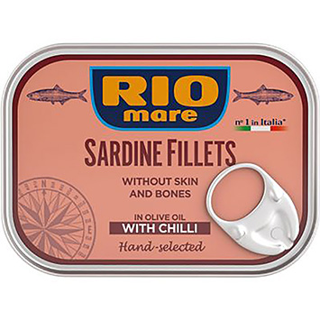 Rio mare Sardine filets without skin and bones in olive oil with chilli 105g