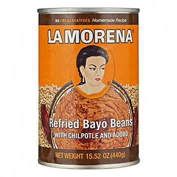 La morena Refried bayo beans with chilpotle en adobo 440g