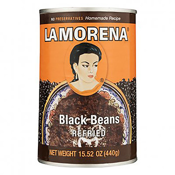 La morena Refried black beans 440g