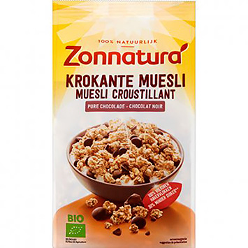 Zonnatura Krokante muesli pure chocolade 375g