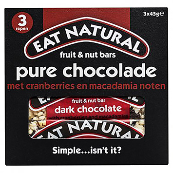 Eat natural Fruit and nut bars dark chocolate 3x45g