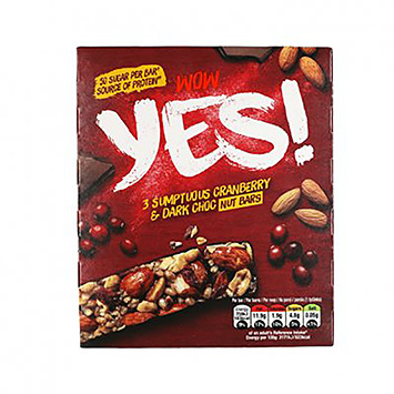 Yes 3 Sumptuous cranberry and darc choc fruit bars 105g