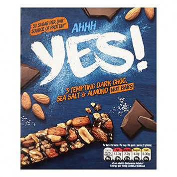 Yes 3 Tempting dark choc sea salt and almond fruit bars 3x35g
