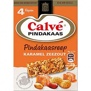 Calvé Pindakaas pindakaasreep karamel zeezout 4x35g