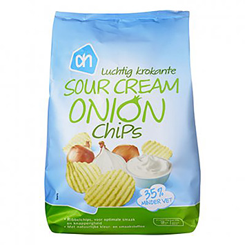 AH Luchtig krokante sour cream onion chips 150g