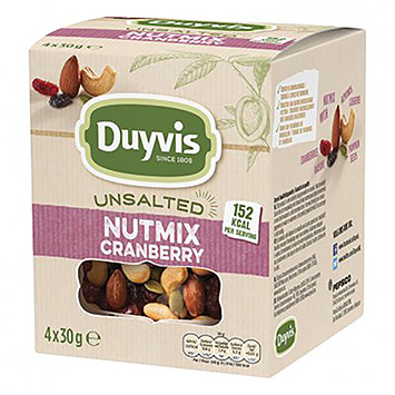 Duyvis Unsalted nutmix cranberry 4x30g