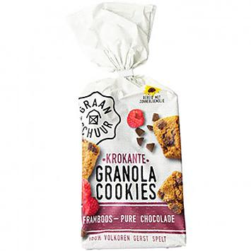 The granary Crispy granola cookies raspberry dark chocolate 160g