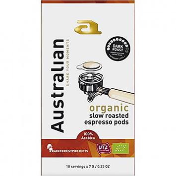Australian Dark roast organic slow roasted espresso 18 pods 126g
