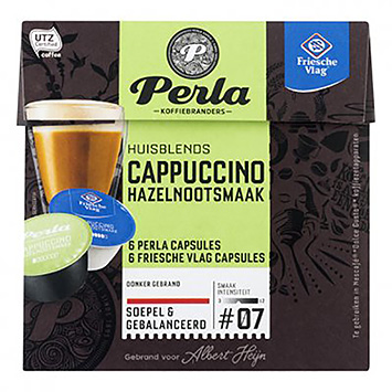 Perla Cappuccino hasselnød smag dolce gusto kompatible 12 kapsler 126g