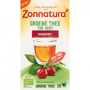 Zonnatura Groene thee cranberry 20 zakjes 36g