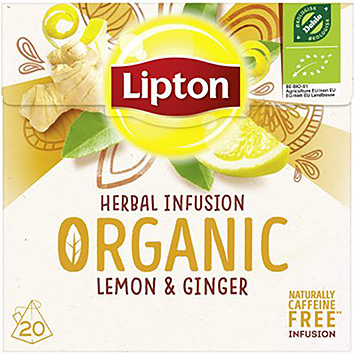 Lipton Herbal infusion organic lemon and ginger 20 bags 35g