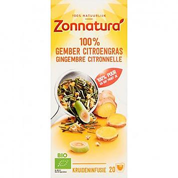Zonnatura 100% Gember citroengras 20 zakjes 30g