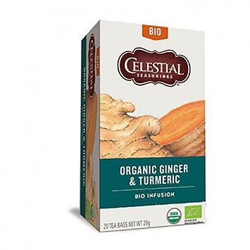 Celestial seasonings Organic ginger and turmeric 20 bags 29g